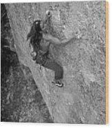A Caucasian Women Rock Climbing Wood Print