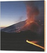 A Fiery New Cone On Mount Etna Upstages Wood Print