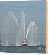 A Fire Boat Wood Print