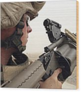 A Marine Aims In With A M-32 Multiple Wood Print