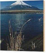 A Scenic View Of Mount Fuji Taken Wood Print