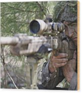 A Sniper Sights In On A Target Wood Print