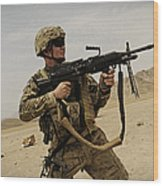 A Soldier Firing His Mk-48 Machine Gun Wood Print
