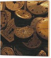 A Still Life Of Old Watch Faces Wood Print