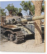 A T-72 Tank Destroyed By Nato Forces Wood Print