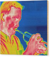 A Thermogram Of A Musician Playing Wood Print