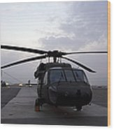 A Uh-60 Black Hawk Helicopter Wood Print