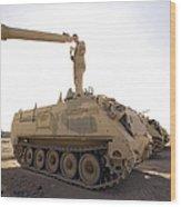 A Us Army Mechanic Uses A M113 Wood Print