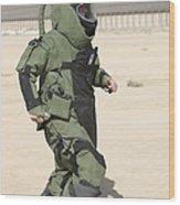 A U.s. Marine Tries Running In A Bomb Wood Print