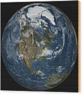A View Of The Earth With The Full Wood Print
