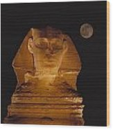 A View Of The Great Sphinx At Night Wood Print