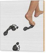 A Woman's Feet Leaving Carbon Footprints Wood Print