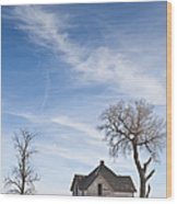 Abandoned House In Field Wood Print by Dave & Les Jacobs