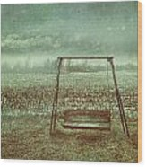 Abandoned  Swing In First Snow Storm Of Winter Wood Print by Sandra Cunningham