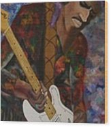 Abstract Jimi Hendrix Wood Print