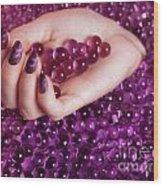 Abstract Woman Hand With Purple Nail Polish Wood Print