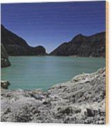 Acidic Crater Lake On Kawah Ijen Wood Print