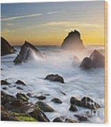 Adraga Beach Wood Print