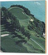Aerial Of A Golf Course In Bermuda Wood Print