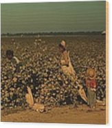 African Americans Picking Cotton Wood Print