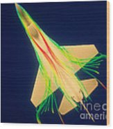 Air Flow Over F-16 Jet Fighter Wood Print