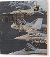 Aircraft Parked On The Flight Deck Wood Print