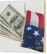 American Flag Wallet With 100 Dollar Bills Wood Print