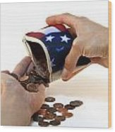 American Flag Wallet With Coins And Hands Wood Print by Blink Images