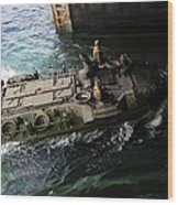 An Amphibious Assault Vehicle Enters Wood Print