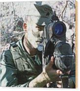 An Army Ranger Sets Up An Anpaq-1 Laser Wood Print