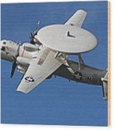 An E-2c Hawkeye In Flight Wood Print