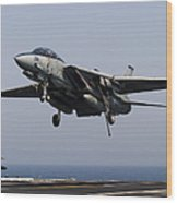 An F-14d Tomcat Comes In For An Wood Print