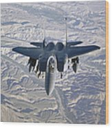 An F-15e Strike Eagle Soars Wood Print