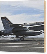 An Fa-18c Hornet Lands Aboard Wood Print
