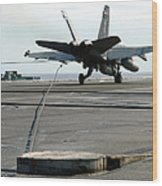 An Fa-18c Hornet Makes An Arrested Wood Print