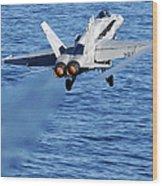 An Fa-18c Hornet Taking Off Wood Print