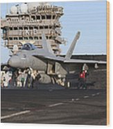 An Fa-18e Super Hornet During Flight Wood Print