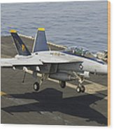 An Fa-18e Super Hornet Trap Landing Wood Print