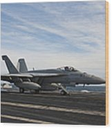 An Fa-18f Super Hornet Takes Wood Print by Stocktrek Images