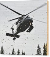 An Hh-60g Pave Hawk Helicopter Prepares Wood Print