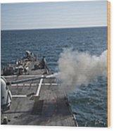 An Mk-45 Lightweight Gun Is Fired Wood Print