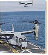 An Mv-22 Osprey Tiltrotor Aircraft Wood Print