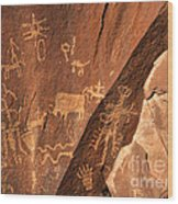 Ancient Indian Petroglyphs Wood Print