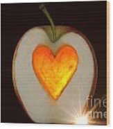 Apple With A Heart Wood Print
