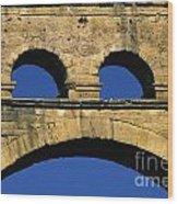 Aqueduc Du Pont Du Gard.provence Wood Print by Bernard Jaubert
