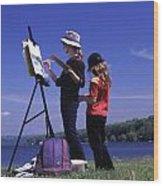 Artist Painting Cayuga Lake Wood Print