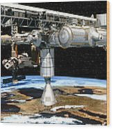 Artwork Of The International Space Station Wood Print