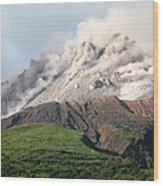 Ash And Gas Rising From Lava Dome Wood Print