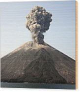 Ash Cloud From Vulcanian Eruption Wood Print