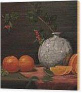 Asian Vase With Oranges Wood Print